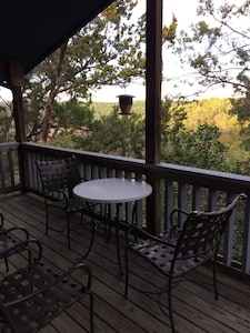 Deck from the Master Bedroom. Great views of the hill country.