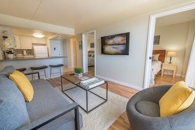 True One bedroom condo with pocket doors to close off the bedroom