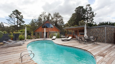 The Pool House and pool area is a great spot to  relax with friends.