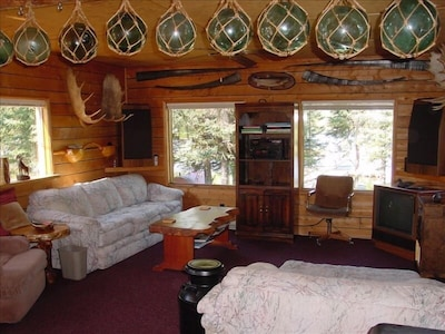 Living room, 2 couches, 1 with queen hide-a-bed, Sound system, TV-DVD-VCR, View.