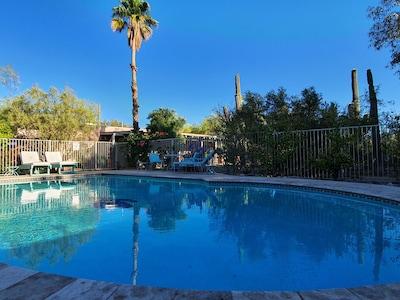 Pool large enough to swim laps.