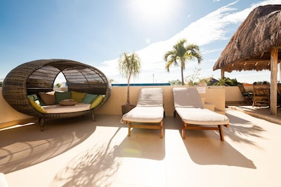Common Roof top garden, with pool, BBQ, Lounge area, Caribean Palapa.