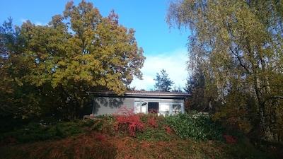 Kuscheliges Holzhaus mit Kamin und toller Fernsicht, eingezäunter Garten