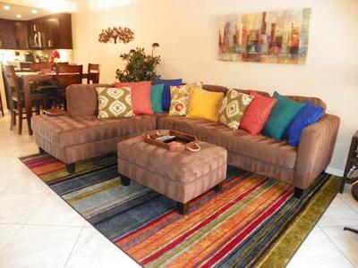Living room; comfortable sectional with ottoman