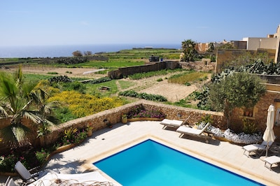 Sea and Country views from pool deck, kitchen and bedrooms- Tal-Bjar Villa Gozo