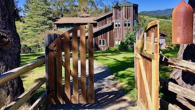Entrance from the Main Ranch parking area. Ring the bell to announce yourself.