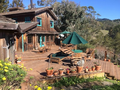 The back deck at the Main Ranch House has great sun and forever views