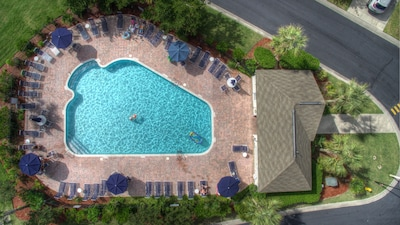 Our private Tanglewood Pool, is located only 100 ft from the front door!