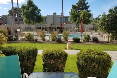 view from living room directly across from heated pool!