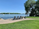 The Adirondack chairs are perfect for watching the kids  and enjoying lake life