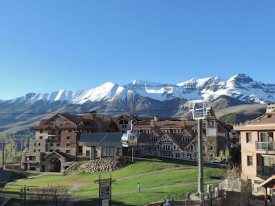 View from Blue Mesa towards Plaza, lift and gondola