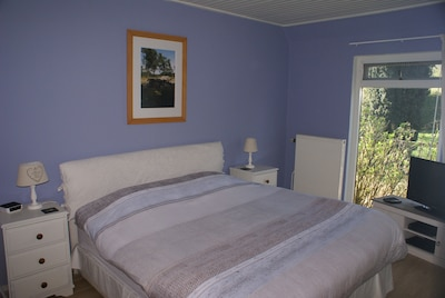 Downstairs double bedroom with built-in wardrobe, LCD tv with Blu-ray player