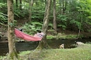Or swing from a hammock next to the year-round stream that borders the property.