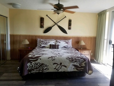 Bedroom with custom bamboo wall