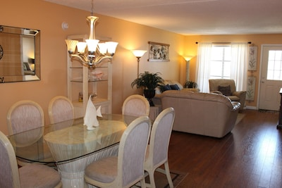 Dining room and Living area with 40 inch TV