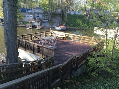 Huge deck over the water looking out