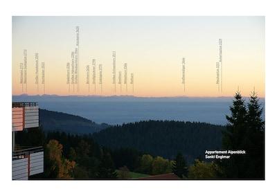 Berge- bei klarem Wetter vom Balkon und vom Küchenfenster aus zu sehen.