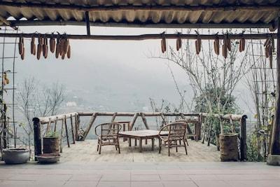 the balcony in a foggy morning