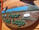 Wecome to Amor del Lago (Love of the Lake) Sign by the Front Door.