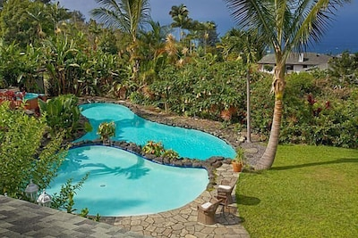 Two pools with waterfalls into large pool, small pool is kiddie pool
