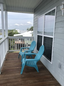 Covered deck - great for morning coffee
