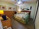 Comfy King sized bed and our custom, bamboo wall
