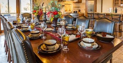 Grand dining experience with elegant china and glassware.
