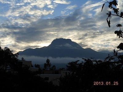 Morning view of Imbabara volcano from condo front window