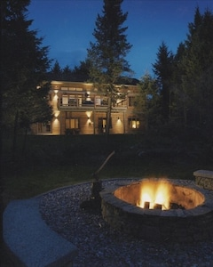 Backyard and Fire Pit at Night