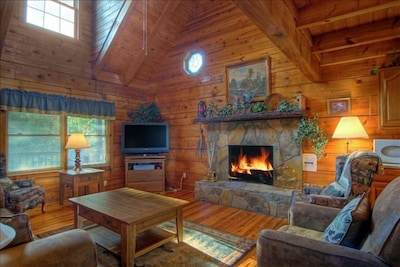 Family Room with Wood-Burning Fireplace