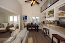 Layout as you step in the front door : kitchen & loft (R), ocean & living (L)