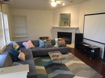 Spacious living room with modular furniture