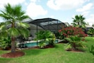 Rear view of pool and tropical planting, providing privacy