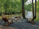Spring 2020--water was up and fire pit was finished.