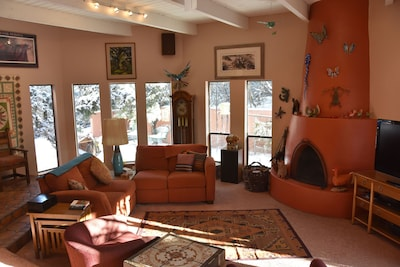 Our Living Room with its Kiva Fireplace