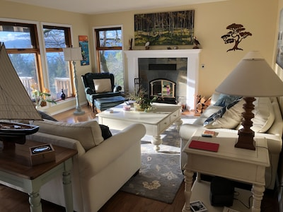 Bright relaxing living room with ocean and mountain views