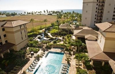 World Class Oceanfront Ko Olina Beach Villa Resort view from 7th floor lanai