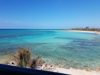 Turquoise blue water view from the balcony