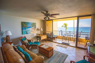 panoramic ocean, palm tree, sand beach view from whole unit.