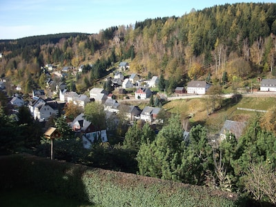 Ausblick von Ferienwohnung auf Pobershau