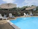 La piscine avec son espace bain de soleil