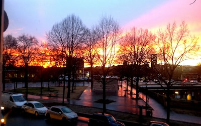 Gorgeous sunset from the living room window in January.
