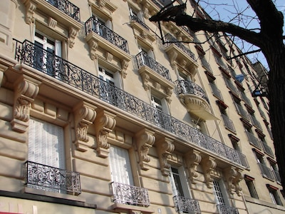 """Our """"pierre de taille"""" facade: our windows are the 2 open at lower right"""