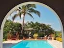 Grande piscine avec grand deck en bois de 100 m² et bains de soleil