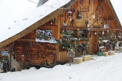 Sous la neige, le chalet et l'accès au gite.