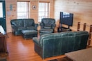 Leather couches, TV with DVD/BlueRay Player, no cable