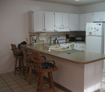 Full kitchen with dishwasher, microwave, range/stove, refrigerator w/ icemaker