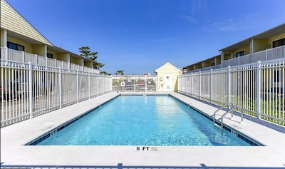 New pool is perfect for relaxing after a day on the beach.