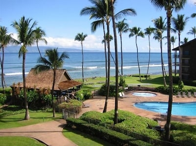 Papakea pool and cabana just off the beach and a view of Molokai