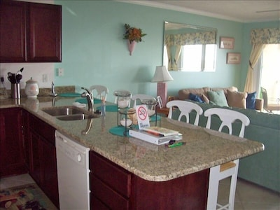 PARTIAL VIEW OF KITCHEN AND LIVING ROOM - 2013.   NO SMOKING IN THIS UNIT.